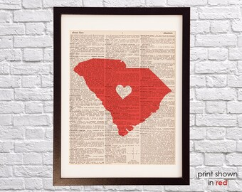 South Carolina Dictionary Art Print - Charleston Art - Print on Vintage Dictionary Paper - Any Color - Palmetto, Myrtle Beach, Columbia