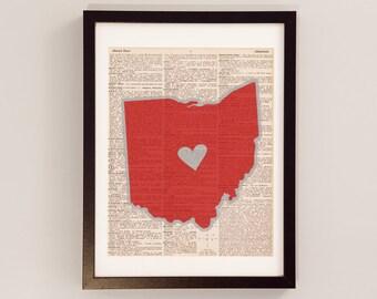 Ohio State Buckeyes Dictionary Print - Ohio Art - Print on Vintage Dictionary Paper - I Heart Columbus Ohio - Ohio State University Buckeyes