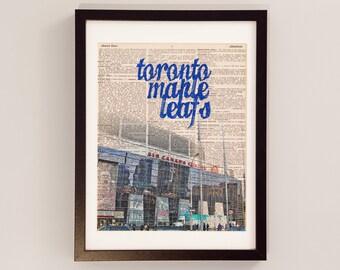 Toronto Maple Leafs Print - Hockey Art - Print on Vintage Dictionary Paper - Air Canada Centre - Toronto Ontario - Original Six