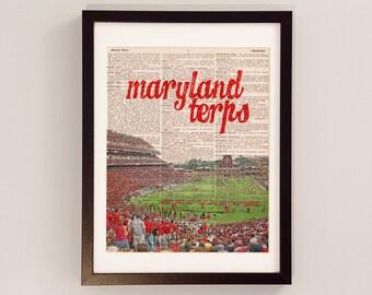 Maryland Terps Dictionary Art Print - College Park Art - Byrd Stadium - University of Maryland Terrapins - Graduation Art, Football