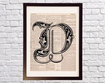 Monogram Letter D - Dictionary Art Print - Print on Vintage Dictionary Paper - Fancy D, Cursive D, Old English Font, Initial D, Alphabet