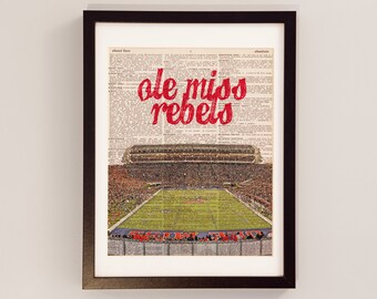 Ole Miss Rebels Dictionary Art Print - Vaught Hemingway Stadium, Oxford, Mississippi - Vintage Dictionary - University of Mississippi Art