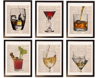 Bar Collection Six (6) Prints - Save 20% Vintage Dictionary Prints - Scotch, Red Wine, White Wine, Bloody Mary, Whisky, Martini, Manhattan