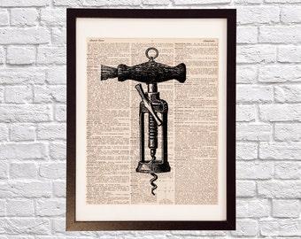 Vintage Corkscrew Dictionary Art Print - Wine Art - Print on Vintage Dictionary Paper - Red Wine, White Wine, Wine Print, Wine Cork Screw