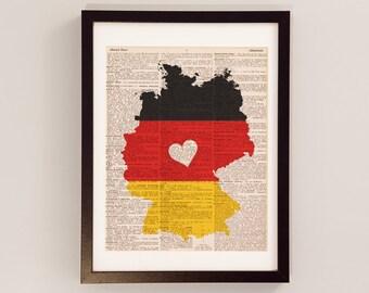 Germany Dictionary Art Print - Deutschland Art - Print on Vintage Dictionary Paper - German Flag, Any Color - Berlin, Frankfurt, Munich