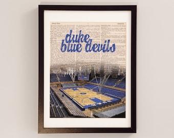 Duke Blue Devils Dictionary Art Print - Cameron Indoor Stadium, Durham, North Carolina - Vintage Dictionary - Duke Basketball Art