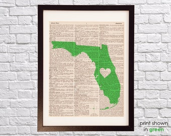 Florida Dictionary Art Print - Jacksonville Art - Print on Vintage Dictionary Paper - Any Color - Miami, Gainesville, Orlando, Tampa Bay