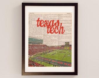 Texas Tech Red Raiders Dictionary Art Print - Jones AT&T Stadium - Print on Vintage Dictionary Paper - Texas Tech Football - Graduation Gift