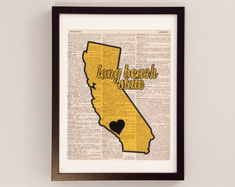 Long Beach State - Long Beach California Art - Print on Vintage Dictionary Paper - The Beach, LB State, Long Beach State 49ers, Graduation