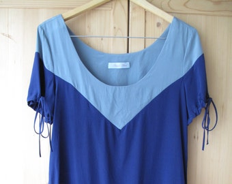 1920s Style Two Tone Color Block Blue Silk Blouse