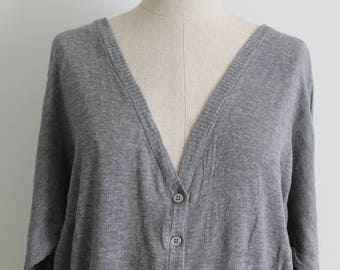 Grey Cotton Batwing Cardigan Sweater