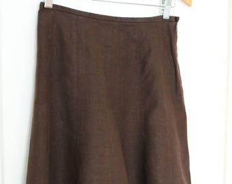 1940s Style Retro Brown Linen Knee Length Skirt