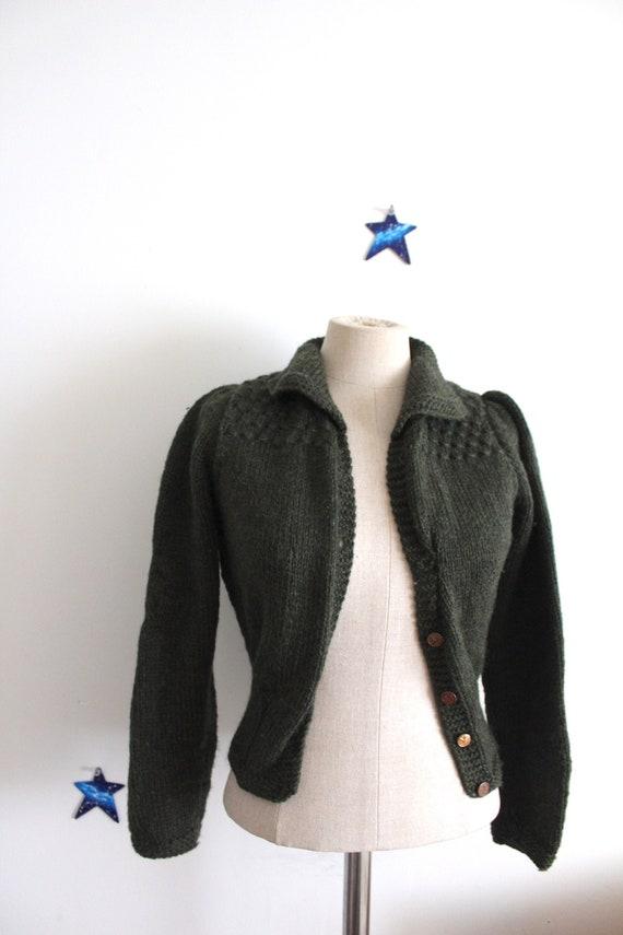 1940s replica sweater hand knitted wool moss green
