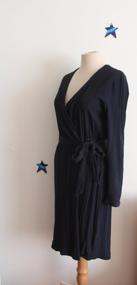 black wrap dress rayon 90s does 40s elegant