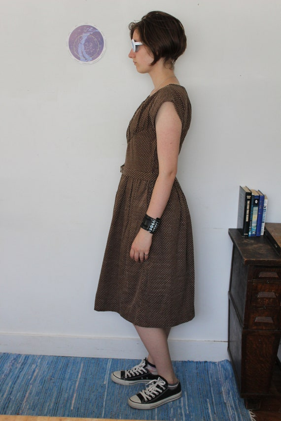 Swiss Dot 1940s Reproduction Dress Brown Cotton - image 7