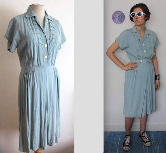 1940s Light Blue Rayon Dress