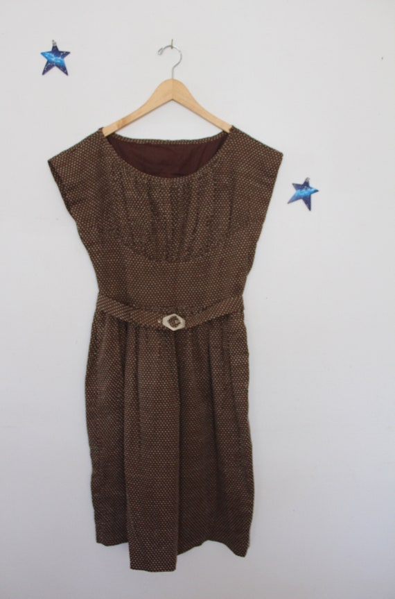 Swiss Dot 1940s Reproduction Dress Brown Cotton - image 2
