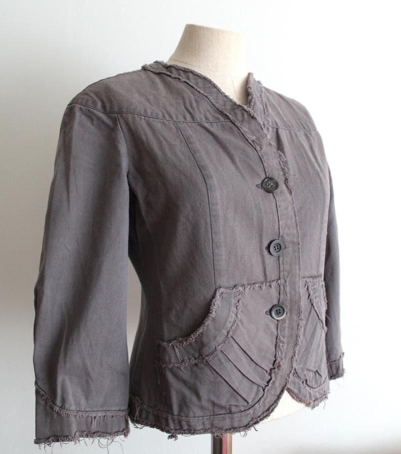 Organic Cotton Grey Blue Distressed Handmade Neo-Victorian Jacket Y2K