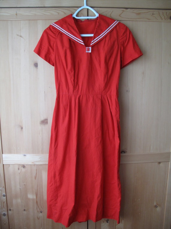 1940s/50s red sailor dress cotton nautical