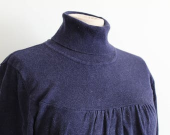 Navy Blue 1950s Style Turtleneck Sweater