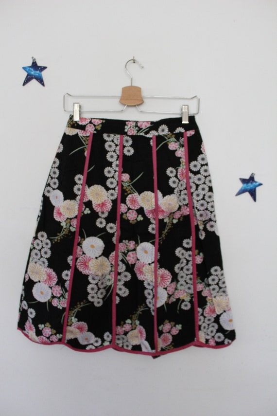 floral cotton skirt chinoiserie Asian print y2k
