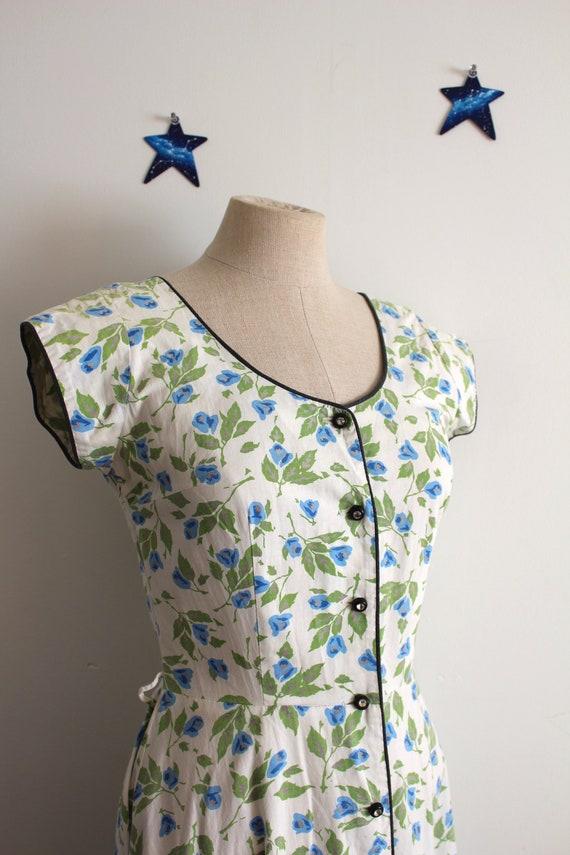 1940s cotton floral dress midi rhinestone buttons