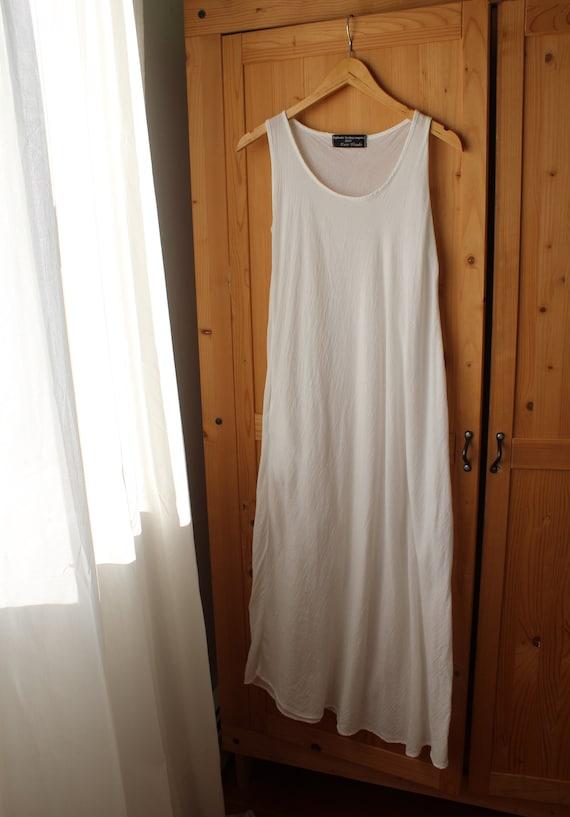 pure white cotton maxi dress gauzy beach summer 19