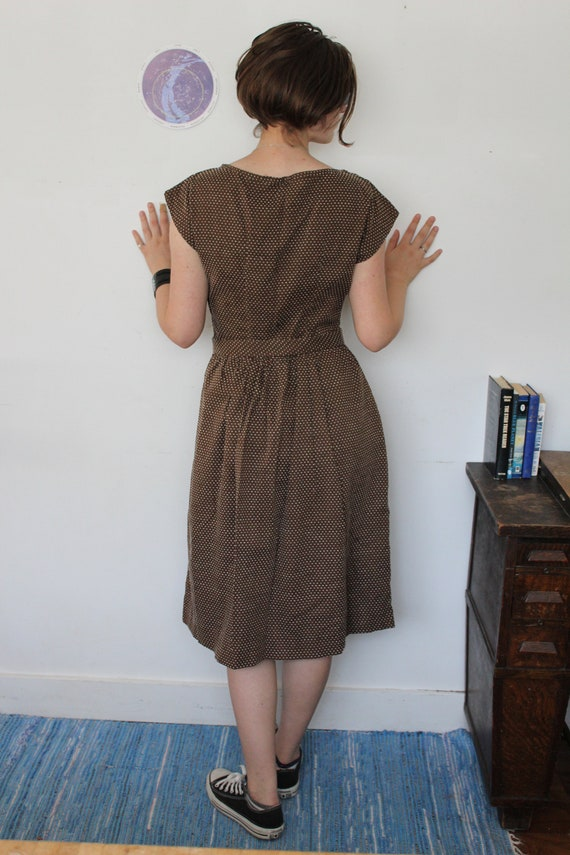 Swiss Dot 1940s Reproduction Dress Brown Cotton - image 8