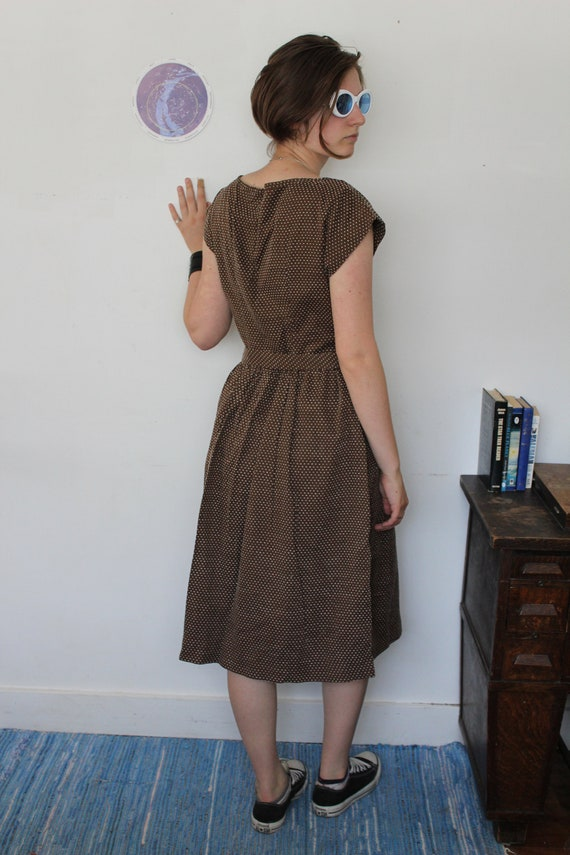 Swiss Dot 1940s Reproduction Dress Brown Cotton - image 9