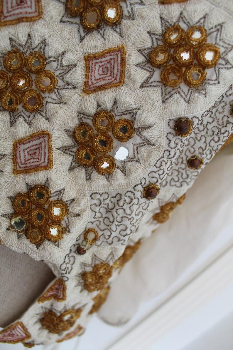 Cream and Gold Mirror Beaded Folk Bohemian Blouse