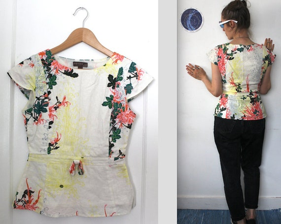 chinoiserie blouse cotton floral retro