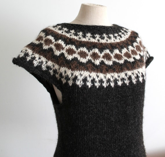 Icelandic Wool Lopapeysa Hand Knitted Sweater Vest