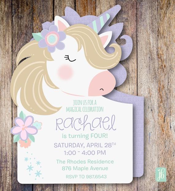 Unicorn Birthday Invitation Custom Personalized Die Cut