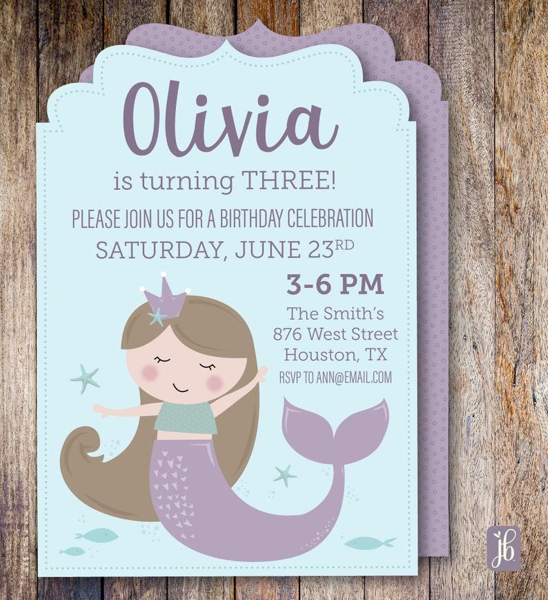 Mermaid Birthday Invitation Custom Personalized Die Cut