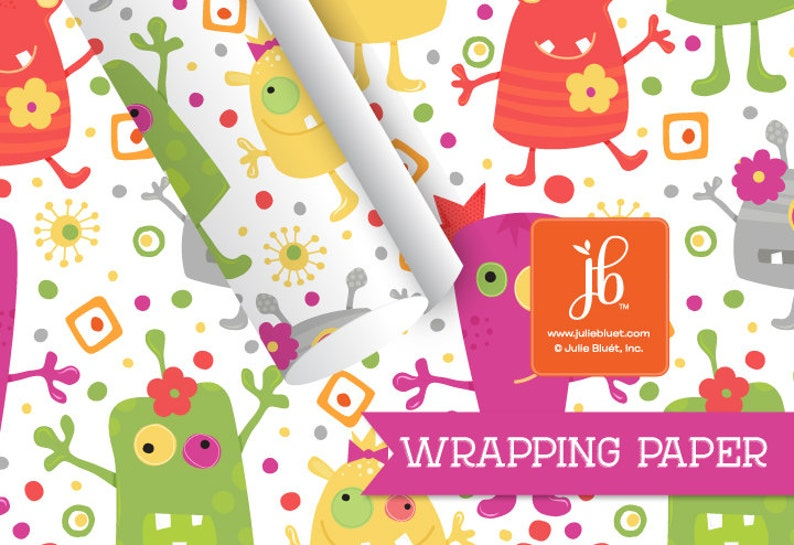 Girl Monster Birthday Wrapping Paper