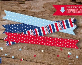 Stars & Stripes Drink Flags | Sold as an Instant Download | Patriotic Drink Flags
