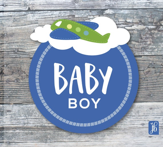 Baby Boy Blue Gift Sticker Personalized Labels Baby Shower Etsy
