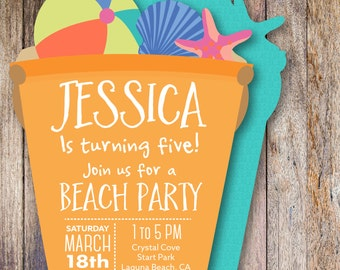 Beach Party Invitation | Custom Personalized Die Cut Party Invitation | Beach Party Birthday Invite | Kid's Beach Party Invitation