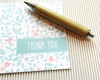 Thank You Card Set | Floral Teal Garden Note Cards | Personalized with Monogram or as Thank You Cards