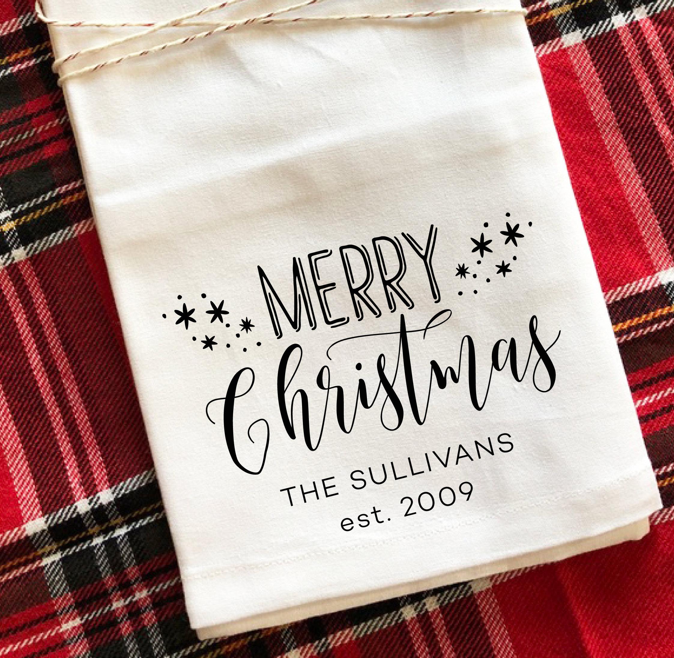 Merry Christmas Stars Personalized Christmas Tea Towel