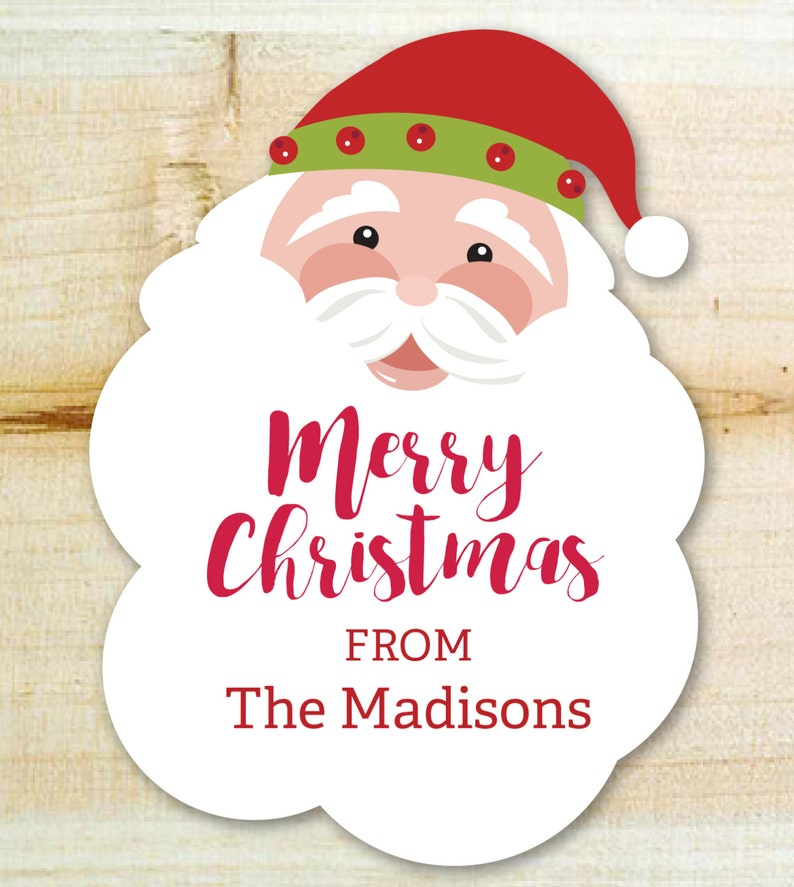Christmas Tags or Stickers Jolly Santa Personalized Gift Stickers or Tags