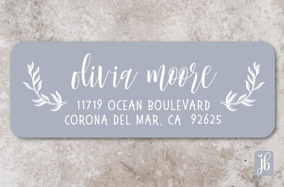 blue grey return address labels everyday rectangular address etsy