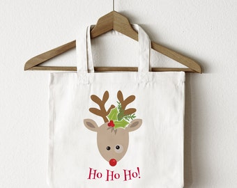 Holiday Tote Bag | Ho! Ho! Ho! Holiday Reindeer Tote Bag | Great Gift Idea | Canvas Tote Bag