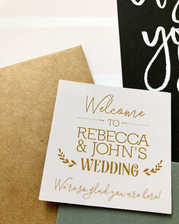 gold welcome wedding gift tag sticker personalized wedding etsy