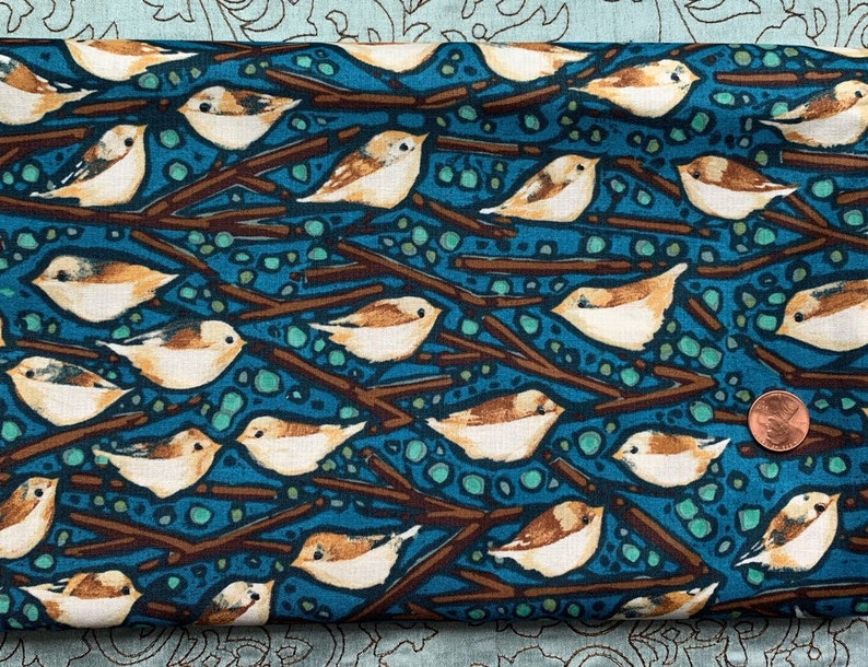 Half Yard Birds on Blue  A Garden for Olivia by Lida Enche image 0