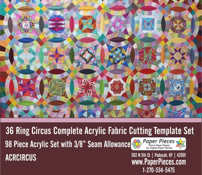 SALE: 36 Ring Circus Acrylic Template Set  98 Pieces  image 0