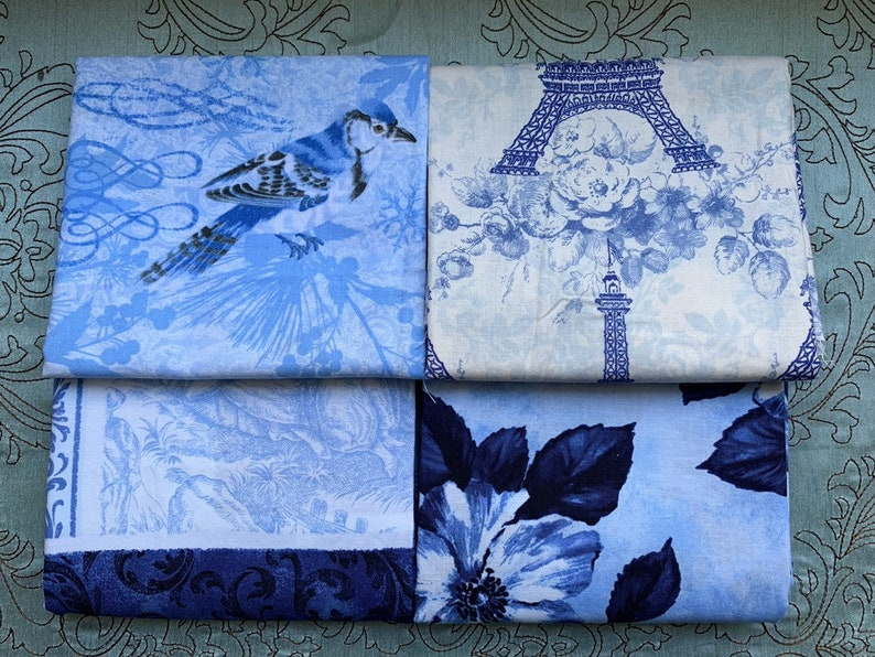 Blue Fabric Remnant Bundle  Holly Holderman Timeless image 0