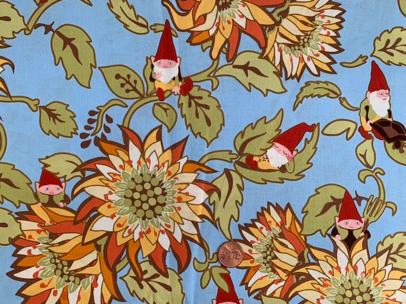 Half Yard  Better Gnomes and Gardens  Blue  Heather DuPont image 0