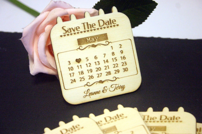 Wedding Save The Date Magnets Beautiful Rustic Calander Style