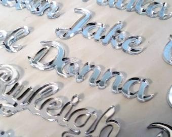 Laser Cut Mirror Place Settings - Set Of 10 - Laser Cut Names - Wedding Reception - Mirror Acrylic - Guest Seating - Wedding Seating-Wedding